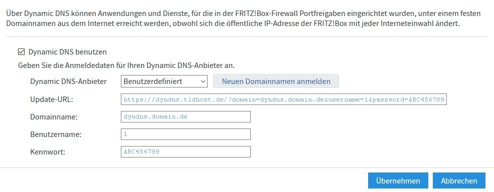 TLDHost.de - DynDNS Einrichtung